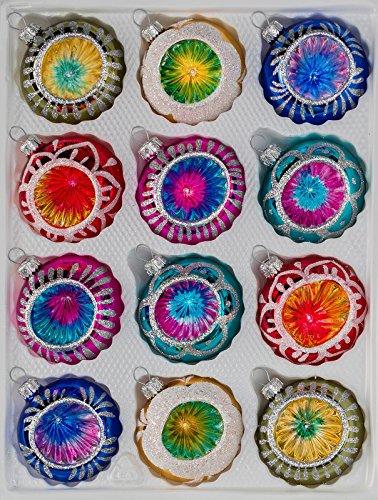 """12 tlg. Glas-Weihnachtskugeln Set in """"Hochglanz Vintage Style"""" Christbaumkugeln – Weihnachtsschmuck-Christbaumschmuck-Reflektorkugeln-Reflexkugeln-Reflector Ball"""