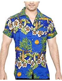TROPICAL VIBES Men's Regular Fit Classic Short Sleeve Casual Floral Hawaiian Shirt