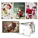 20 Vintage Weihnachtskarten, Postkarten im Retro Stil, Weihnachtspostkarten, 12x17,5 cm 4 versch. Designs