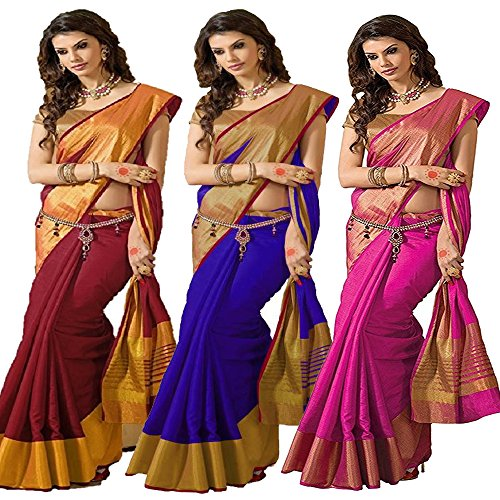 Indian Beauty Tassar Silk Combo Of 3 Saree With Blouse Piece (Ibcombo-101_Multicolor_Free...
