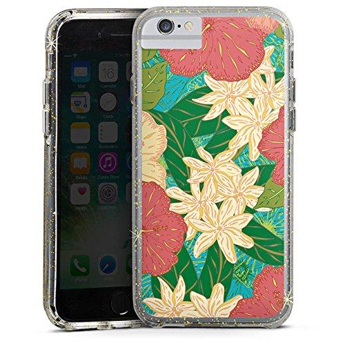 Apple iPhone 8 Bumper Hülle Bumper Case Glitzer Hülle Spring Flowers Blumen Bumper Case Glitzer gold