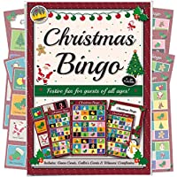 CHRISTMAS PARTY BINGO GAME: FUN & GAMES FOR FAMILY, OFFICE AND KIDS XMAS PARTIES WITH FREE CERTIFICATES. Ideal novelty gift idea for adults, groups and kids of all ages. Based on traditional lotto this entertaining, interactive game makes a fun secret Santa gift idea, unique stocking filler present or an unusual alternative to a boring Christmas quiz. Includes 8 games sheets that can be used for up to a 24 player game. A great activity for work, school, club, home or even a pub!