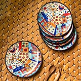 ExclusiveLane 'The Hut Family' Hand-Painted Ceramic Quarter Plates (7 Inch, Set Of 6) - Ceramic Plates Set For Dinner Rice Plate For Serving Side Plates Dessert Quarter Plate Full Plates Dinner Set Dinner Plates Set Of 6 Snacks Serving Breakfast Plates Ta