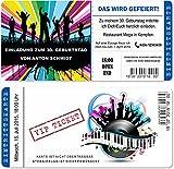 Einladungskarten zum Geburtstag als mit Abriss-Coupon, Eintrittskarte Party Ticket Blau 40 Stück