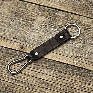 Schwarzes Leder Karabiner Schlüsselanhänger Ringhalter Klammer Schlüssel Karabiner-haken Geschenk Schlüsselband Anhänger