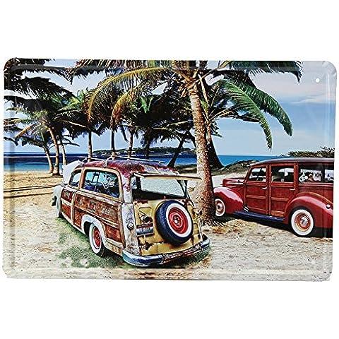 Bluelover Decoración de la pared playa coche lata signo Vintage Metal placa cartel barra Inicio