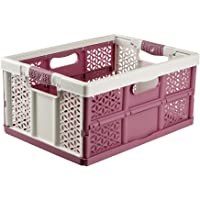 keeeper Extra Strong Folding Box with Soft-Touch Handles, 48x34.5x23.5 cm, 32 Litre, Lea, White/Berry