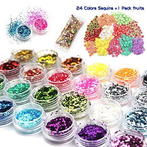 laconile 24Farben schlamm Glitzer Pailletten mit 1000Stück Obst Scheiben schneiden für Sparkling Dekoration Glitzer DIY Toys