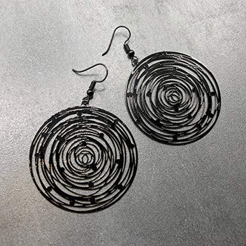 Ohrringe BLACK SPIRAL Spirale rund antik schwarz modern handmade groß einzigartig Damen Schmuck Design