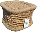 Ecowoodies Babiana Eco Friendly Handicraft Cane / Wooden Breakfast Kitchen Pub High Chair Garage Game Living Room Home Kitchen Counter Indoor/Outdoor Balcony Terrace Garden Lawn Cafeteria Restaurant Bar Sitting Stool Chair Beige)