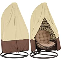 CHEYLIZI Patio Hanging Chair Cover 115 * 190cm 210D Oxford Fabric Waterproof Garden Cocoon Egg Chair Garden Furniture Protective Cover with Drawstrings (Single 75in x 45in, Beige)