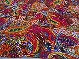 Kiara - Couvre-lit indien fait à la main - Coton Kantha avec imprimé floral cachemire et points - Réversible - Pour lit double, 2 dimensions, Coton, Barbie Pink, Queen Size