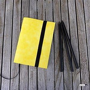 Notizbuch A6 mit Hülle aus Papierleder in gelb, von wagnerstrasse. Handgefertigt in Baden-Württemberg