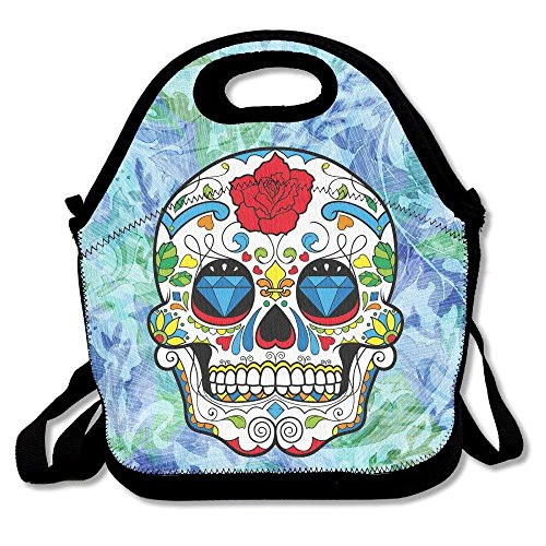 Dress rei Red Colorful Sugar Skull Rose Eyes Skull Head Halloween Day of Dead Lunch Bag Tote Handbag Lunchbox Food Container Tote Cooler Warm Pouch for School Work Office