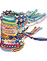Zhanmai 10 Pieces Woven Bracelets Handmade Friendship Bracelets Multi Color Braided Bracelet for Wrist Ankle
