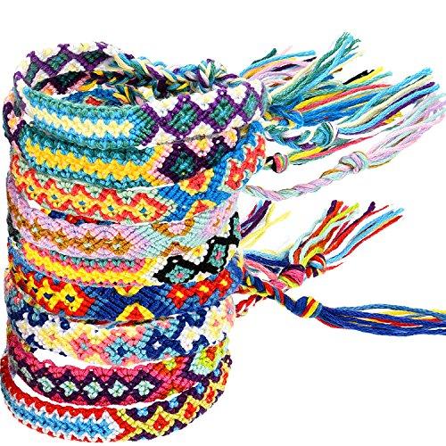 Armbänder Kostüm Knöchel - Zhanmai 10 Stück Gewebte Armbänder Handgemachte Freundschaft Armbänder Multi Farbe Geflochtene Armband für Handgelenk Knöchel