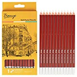 #3: Bianyo White Soft Pastel Pencil Set For Art Drawing, Sketching -12 Pcs, White