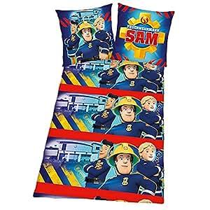 Sam Le Pompier - Fireman Sam - Enfants Housse de Couette & Taie Réversible Flanelle 80/80 x 135/200cm