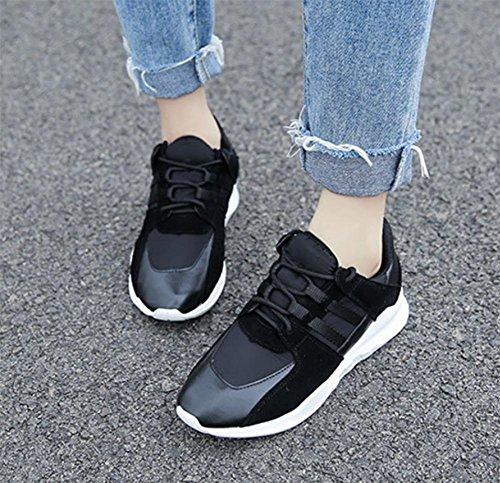 Flache beiläufige Sportschuhe Laufschuhe schnüren Schuhe Herbst Frau Aufzug Schuhe Black