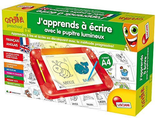Lisciani - FR58693 - Jeu Educatif - Carotina - J'Apprends à Ecrire avec Le Pupitre Lumineux