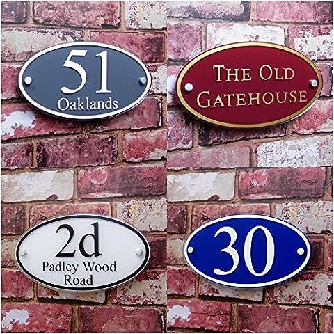 House Hausnummer Adresse Name/Street Teller Large 'Oval' Maßgefertigt Personalisieren mit