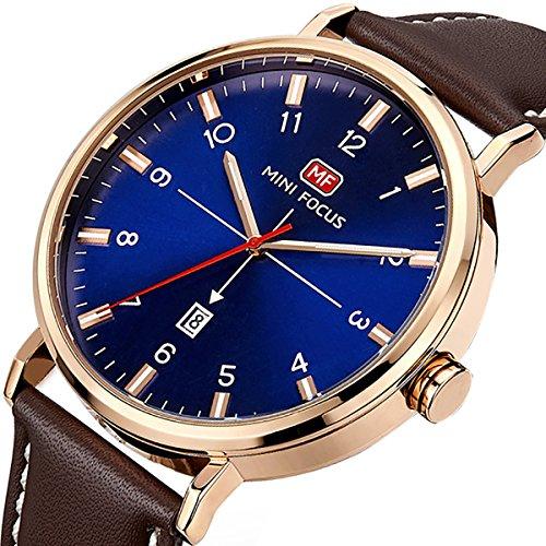 Relojes Hombre Reloj de pulsera de Longqi Analógico de Cuarzo Relojs Elegante Impermeable Calendario Negocios Relojes para hombres