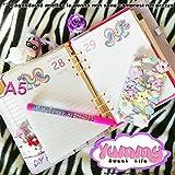 A5 - Personal - REFILL handmade per agende planner 1 giorno per pagina Rainbow l'unicorno