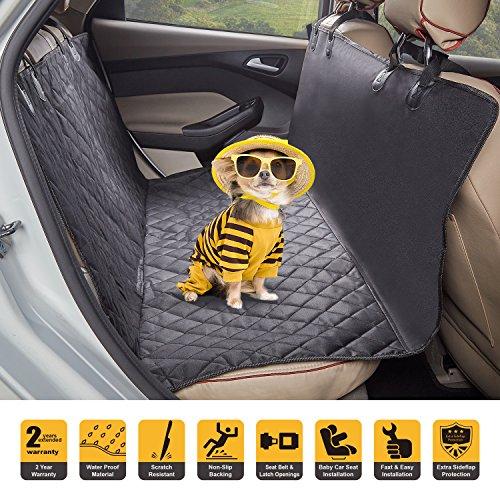 Tech Traders - Funda de asiento para mascota (tamaño grande, con anclaje y humo, antideslizante, resistente al agua, a prueba de arañazos, ajuste universal para todos los coches y vehículos), color negro