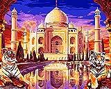Tonzom Holzrahmen Malen nach Zahlen Kits Diy Leinwand Ölgemälde für Kinder, Schulkinder, Erwachsene Anfänger - Taj Mahal Palast 16x20 Zoll mit Pinsel und Acryl Pigment