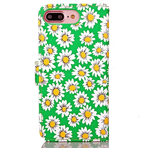 iPhone Case Cover IPhone 7 Plus Housse Couvrir Fleurs Impression Motif Magnétique Boucle Side Design Folio Stand Case Avec Portefeuille Fonction PU Leether TPU Soft Cover Pour Apple IPhone 7 5,5 pouce Green