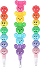 TREELY Cute Colorful and Fun Smiley Face Emoticon Stacking Pencil and Stacking Crayons