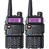 BaoFeng Talkie Walkie VHF UHF FM Radio avec Double Bande Radio, Noir (2 pcs)