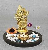 #4: TiedRibbons® Golden Ganesha playing Bansuri Ganesh idol for gift | diwali gift set | home decor murti
