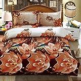 LUYR.R Rosa und graue Schmetterlingsbettauskleidungen 4 Sätze 3D-Druck Bettwäsche Steppdecke 1 Bettbezug 1 Flachbogen 2 Shams