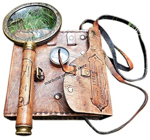 Preisvergleich Produktbild C-3208 Set aus Kompass,  Teleskop & Lupe,  Messing,  mit Ledertasche,  3-teiliges Set