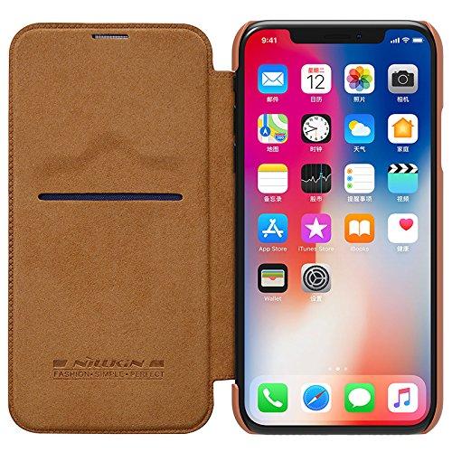 BCIT iPhone X Cover - Alta Qualità Slim Custodia in pelle , Flip Cover Leather Case Per iPhone X - Nero Marrone