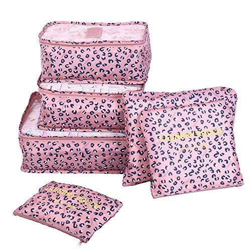 Shopper Joy Koffer Organizer Taschen Set Reise Kleidertaschen 6 Teilig | 3 Packing Cubes + 3 Laundry Pouch für Schuhe Unterwäsche Kosmetik auf Urlaub Camping Aufenthalt - Leopard