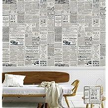 Poowef Wallpaper Amerikanisches Englisch Alte Zeitung Tapete Retro Nostalgie Western Restaurant Kleidung Shop Coffee
