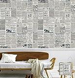 Poowef Wallpaper Amerikanisches Englisch Alte Zeitung Tapete Retro Nostalgie Western Restaurant, Kleidung Shop, Coffee Shop, Arbeitszimmer, Hintergrundbild, 0,53*10 M, D