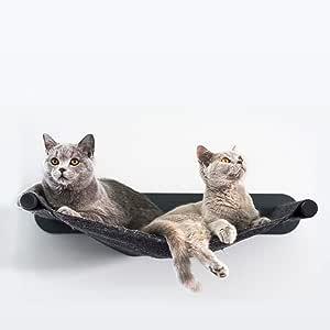 LucyBalu - Amaca per gatti Swing, 65 x 10 x 35 cm, metallo verniciato a polvere e feltro di lana naturale (antracite - antracite)