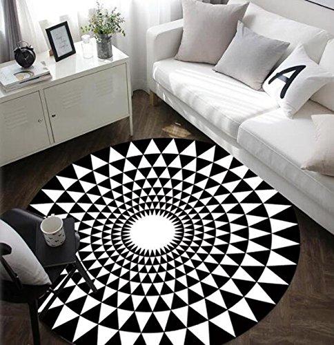 Tapis rond noir et blanc, tapis simple et mode, adapté pour chambre / bureau / salon, antidérapant (100cm, black)