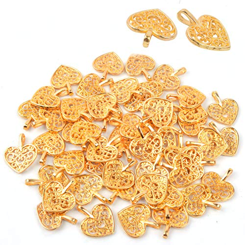 BronaGrand Herz Anhänger Charms Perlen 50 Stück Antike Handwerk Herz DIY Charme Schmuck Erkenntnisse Anhänger Perlen für DIY Handwerk Schmuckherstellung (Golden) (Gold-handwerk)