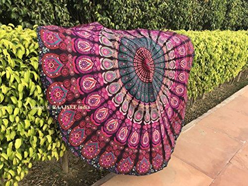 Tela redonda de mandala, de Raajsee, estilo hippie, diseño indio bohemio de plumas de pavo real, de algodón, ideal como colcha, tapiz decorativo,mantel o toalla de playa Morado, 70 inch