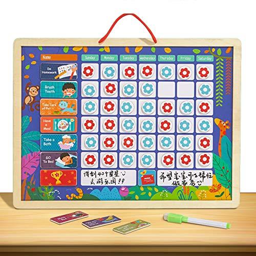 MUYU Verhalten Chore Belohnung Diagramm für mehrere Kinder Verantwortung Magnetic Star Charts Wandaufkleber Magnete Familie Kalender Board Belohnung Chart Board/Aufgaben,1 (2 Diagramm Verhalten Für Kinder)