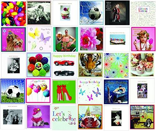 Mix aus 30quadratischen Geburtstagskarten und allgemeinen Grußkarten (nicht in deutscher Sprache)
