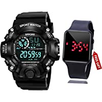Acnos Brand - A Digital Watch with Square LED Shockproof Multi-Functional Automatic Black Color Strap Waterproof Digital…