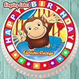 PRECUT EDIBLE ICING LARGE CAKE TOPPER - 7.5 INCH ROUND CURIOUS GEORGE WITH BIRTHDAY BORDER