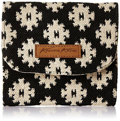 Kanvas Katha Sanitary pouch jacquard Women's Cosemetic Bag (Black&White) (KKSPJ002)
