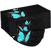 Alueeu 100 Stück Erwachsene Mundschutz mit Motiv Schmetterling Bunt MNS Mund und Nasenschutz Cartoon Druck Maske Tücher…