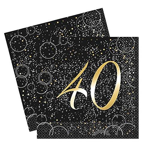 Unique Party 57491Glitz Aluminium Doré 40ème anniversaire Serviettes en papier, Lot de 16